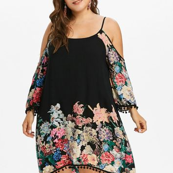 Wipalo Plus Size Print Casual Cold Shoulder Dress Women Clothing Spring Spaghetti Strap Long Sleeve Dresses Party Dress Vestidos