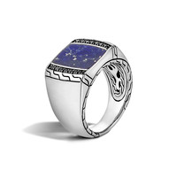 Men's Classic Chain Silver Signet Ring with Blue Lapis - John Hardy
