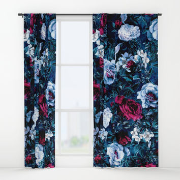 Night Garden Blue Window Curtains by rizapeker