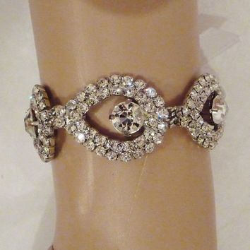 Bridal Rhinestone Bracelet Teardrop by BellaCescaBoutique on Etsy