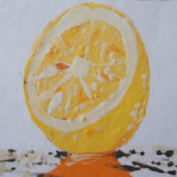 Lemon Aceo Original Acrylic Painting Fruit  Art painting Still life  Art aceo size 6.40 / 8.96 cm / .2.5 x 3.5 Inch