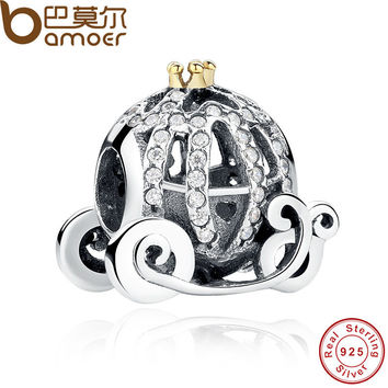 100% 925 Sterling Silver Openwork Cinderella's Pumpkin Charm Fit  Bracelet  Gold Color Crown Jewelry Making PAS027