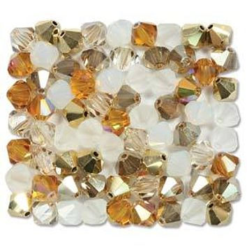 MC30204MIX22 - 4mm Preciosa Bicone Crystal Beads,  Honey Butter | Pkg 144