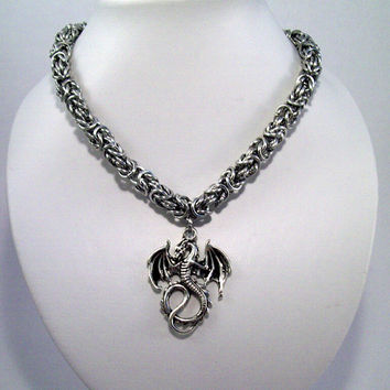 Dragon necklace, mens jewelry, chainmaille necklace.  Byzantine, DND, dungeons and dragons, medieval, ren faire