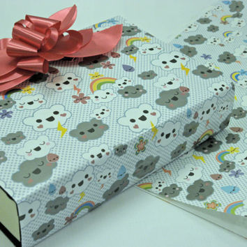"""Gift wrapping Paper Imported Waterproof Happy Rainbows and Clouds 2 sheets 21"""" X 29 1/2""""  Inch"""