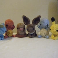 Six Piece Kanto Pokemon set Ready to Ship Charmander Bulbasaur Eevee Squirtle Diglett Pikachu