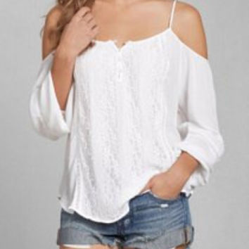 White Strappy Long Sleeve Blouse