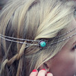 silver and turquoise head piece, chain headband, feather headband, metal headband, unique headband