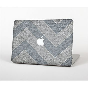 The Vintage Gray Textured Chevron Pattern Wide V3 Skin Set for the Apple MacBook Air 13""