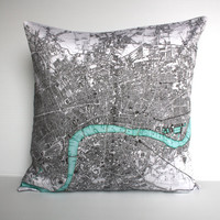 map pillow map cushion, organic cotton cushion LONDON Organic cotton map16 inch  cushion,cushion cover, pillow, 16 inch, 41cm