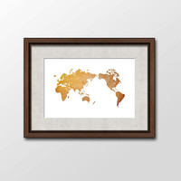 Antique World Map Art Print, Large Poster Image, Graphic Art of a World Map in Rustic, Old Paper Print, Digital Download Printable Art