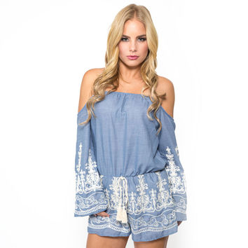 Pacific Palisade Embroider Romper