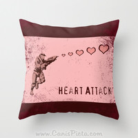 Halo Valentine's Day Master Chief Pillow 16x16 Cover Decorative Sangheili Elite Spartan Video Game Gamer Nerd Pink Red ODB Olive Drab Green