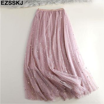 2019  Summer Glitter long Tulle Skirt Women pleated shiny tutu skirt star moon skirt A-line mesh sequined Skirt female 3 layer