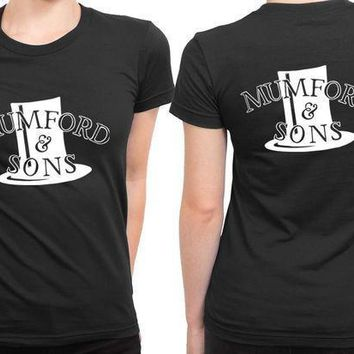 Mumford And Sons Hat Fan Art Black And White 2 Sided Womens T Shirt