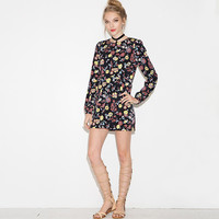 Retro Pastoral Style Fashion Flowers Printed Pleated High Waist Long Sleeve Mini Dresses