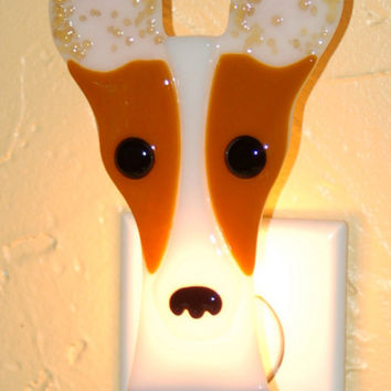 Fused Glass Toy Fox Terrier Night Light - caramel & white