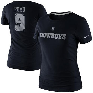Nike Tony Romo Dallas Cowboys Ladies Player Name and Number T-Shirt - Navy Blue