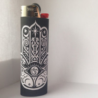 Black Hamsa / Hand of Fatima Full Size Lighter