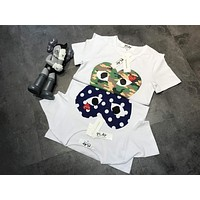 """COMME des GARÇONS PLAY"" Unisex Casual Fashion Camouflage Love Heart Print Embroidery Couple Short Sleeve T-shirt Top Tee"