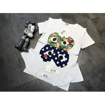 """""""COMME des GARÇONS PLAY"""" Unisex Casual Fashion Camouflage Love Heart Print Embroidery Couple Short Sleeve T-shirt Top Tee"""