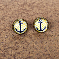 Anchor's Away Navy, Yellow and White Chevron Earrings 12mm