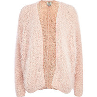 River Island Womens Light pink eyelash knit cardigan