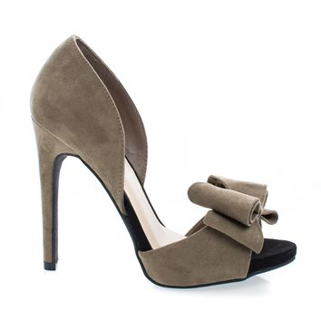 Evelyn24 Taupe By Wild Diva, D'Orsay Two Tone Lush Bow Stiletto Heel Pumps