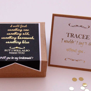 Gold Foil Bridesmaid Gift Box, Will You Be My Bridesmaid Invitation, Jewellery Gift Box, Bridesmaid Gift Wrap, Personalized Bridesmaid Card