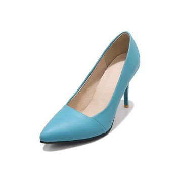 Pointed Toe Stiletto Heel Pumps High Heeled Jelly Shoes 9658