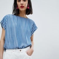 Esprit Stripe Short Cap Sleeve Top at asos.com