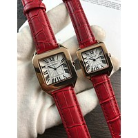 PEAP C052 Cartier Simple Leisure Fashion Automatic Leather Watchand Lovers Watches Red