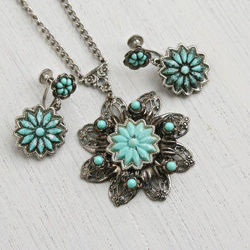 Vintage Faux Turquoise Necklace & Earring Set - 1940s Silver Tone Statement Blue Flower Filigree Costume Jewelry / Teal Blue Demi Parure
