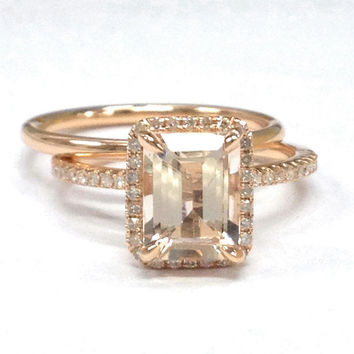 Diamond Wedding Ring Sets!Morganite Engagement Ring 14K Rose Gold,6x8mm Emerald Cut Morganite,Claw Prongs,Bridal,Stackable Matching Band