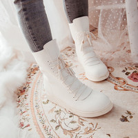 Round Toe Lace Up Flats Ankle Boots Women Shoes 5976