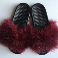 Nike Burgundy faux fur slides fuzzy slippers furry sandals