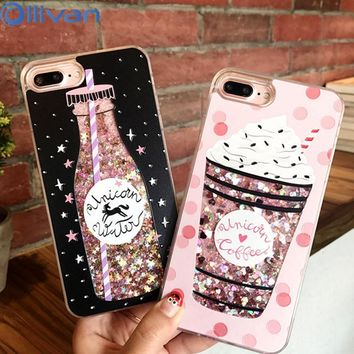 OLLIVAN Drink Bottle Quicksand Phone Cases For iPhone 7 7 Plus 6 6S Plus Ice Cream Heart Glitter Star Dynamic Liquid Back Cover