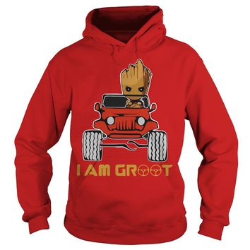 Jeep car and Groot I am Groot Hoodie