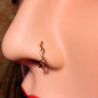 Wavy thin nose ring in 14k gold, rose gold, sterling and fine silver
