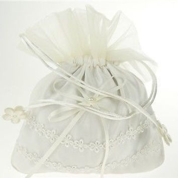 Wedding Bridal Shower Money Pouch Bag, 8-inch, Organza & Satin Daisy, White, CLOSEOUT