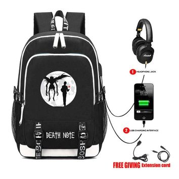 Anime Backpack School USB Charge Headphone Jack Laptop Bags Teens School book bag Multifunction Travel Bags for kawaii cute Death Note L Backpack 13 style AT_60_4