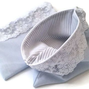 Grey Zippered Pouch - Bridesmaid Gifts - Classic Wedding Gift - Lace Make Up Bag - Wedding Party Favors - Bachelorette Party Gifts - Handbag