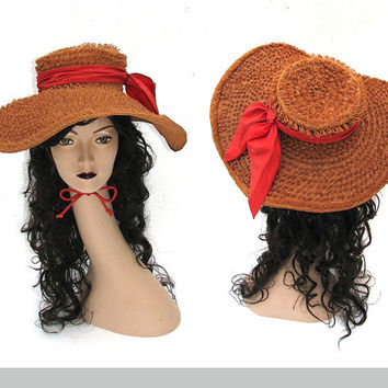 50s Floppy Straw Hat / 1960s Hat / Vintage 50s Hat / Sun Hat / Audrey Hepburn / Wide Brim Hat / Racetrack / Garden Party / Floppy Hat
