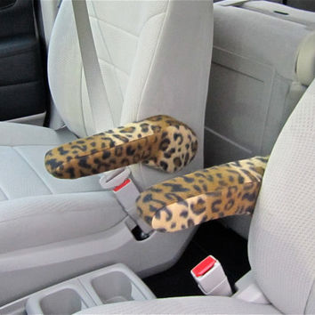 Armrest Covers in Cheetah or Zebra Print for Dodge Caravan 2005 to 2013 Center Console