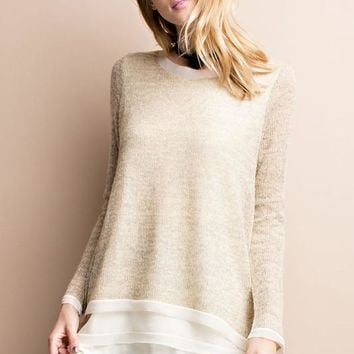 Super Cozy Chiffon Sweater Tunic - Oatmeal