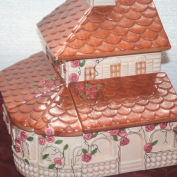 Rare Unique House Canister Set with Salt and Pepper