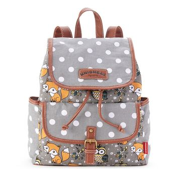 Unionbay Fox & Owl Polka-Dot Backpack (Grey)