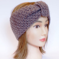 Irish handknit beige earwarmer headband 100% wool women knitted teenager skiing holiday winter fall chunky knit tan brown camel
