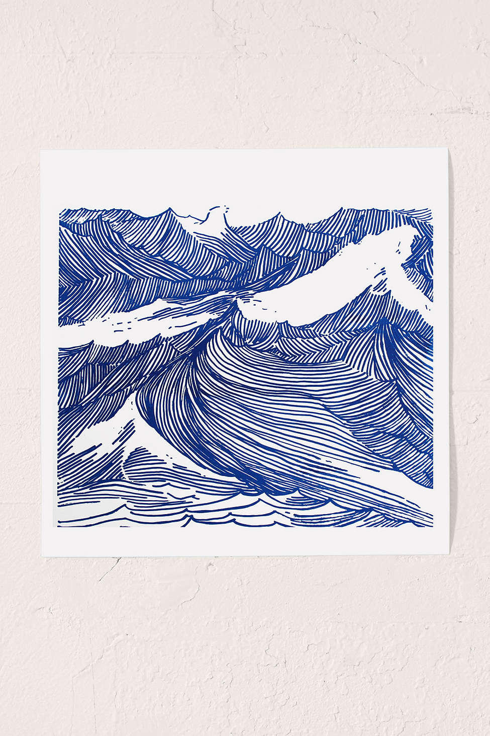 Blue Line Art Painting : Kym fulmer crashing waves art print from urban outfitters