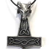 Thor's Hammer with Ram Head Pendent Necklace for Mens Costume 1.75L